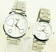 Couple Watches Strap White Dial Quartz Movement Wrist Watch for Lovers
