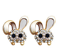 lureme® Vintage Fashion  Dripping Oil Rabbit  Ear Studs