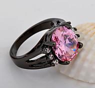 High Quality  Women Black Gold  Zircon Pink Ring