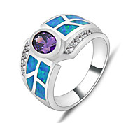 High Quality Fashion Women's White Gold AAA Zircon Sapphire Ring