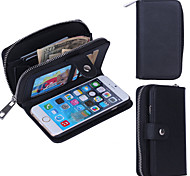 Zipper Wallet Pattern Wrist Strap Genuine Leather Wallet Cases for iPhone 6s Plus (Assorted Colors)