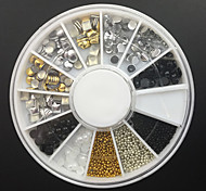12-Style Alloy Rivet+Rhinestone+ Pearl + Ball Beads Nail Art Decoration