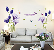 Romantic Purple Lilium PVC Wall Stickers Wall Art Decals