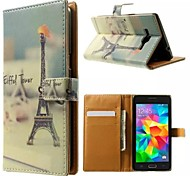 Eiffel Tower Beard Pattern Wallet Card PU Case with Stand for Samsung Galaxy Grand Prime G530