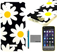 COCO FUN® Yellow Daisy Pattern Soft TPU Back Case Cover with Screen Protector and Stylus for Wiko Rainbow