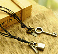 2015 Stylish Retro Literary Key Lock Leather Cord Necklace