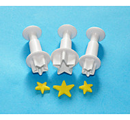 FOUR-C Large Star Rolled Fondant/Sugarpaste Plunger Cutters,Fondant Cake Decoration Tools Set