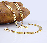 18K Golden Plated Figaro Chain Necklace+Bracelet Jewelry set
