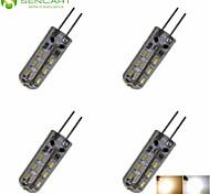 LED a pannocchia 24 SMD 3014 SENCART T G4 2W Decorativo 180-220 LM Bianco caldo / Luce fredda 4 pezzi DC 12 / AC 220-240 / AC 12 V