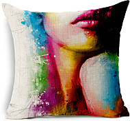 Modern Style Body painting Patterned Cotton/Linen Decorative Pillow Cover