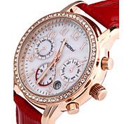 dourado de multi função de relógio de couro banda de pulso de quartzo analógico das mulheres SINOBI (cores sortidas)