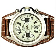 Women's Large Round Dial PU Band Quartz Analog (Assorted Colors)
