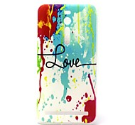 Colorful Ink Love Pattern TPU Material Phone Case And Screen Protector for Asus Zenfone 2