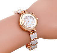Women's Rhinestone Round Dial White Band Bracelet Quartz Watch
