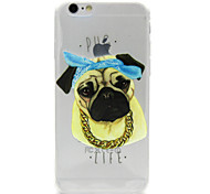 Gold Necklace Dog Pattern TPU Relief Back Cover Case for iPhone 6/6S