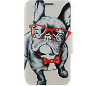 For HTC Case with Stand / with Windows / Flip Case Full Body Case Dog Hard PU Leather HTC