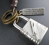 Fashion Flash Lock Pendant Necklace