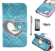 KARZEA™Floral Heart Pattern PU Leather Case with Screen Protector and Stylus and Dust Plug for iPhone 4/4S