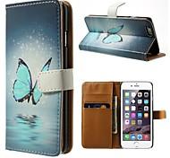 azul padrão de borboleta de couro pu caso de corpo inteiro com stand titular e um cartão para o iphone 6 mais