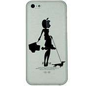 Girl Walks The Dog Pattern Ultrathin PC Hard Back Cover Case for iPhone 5C