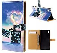 покер легче картины карточки бумажника PU дело с подставкой для Sony Z4