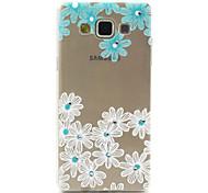 fleurs bleues et blanches compatibles Samsung Galaxy S avec strass conception TPU doux cas de retour de couverture