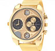 JUBAOLI® Men's Dual Time Zones Design Gold Steel Band Quartz Wrist Watch Cool Watch Unique Watch