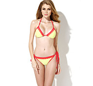 Colloyes Women's Watermelon Yellowish Green + Double Red Lace Trim Triangle Top Bikini Swimwear(Size:S/M/L)