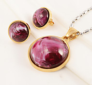 Fashion Chocolate Pattern Stainless Steel Gold Plated (Necklace&Earrings) Jewelry Set