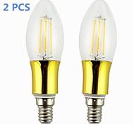 Lámparas LED de Filamento E14 4.0 W 4 COB 380-400 LM Blanco Cálido AC 85-265 V