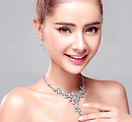 Drip Pendant Rhinestones Titanium Necklace with Earrings