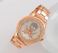 vintage classique de la personnalité du crâne d'impression des femmes en or rose diamants en acier montre-bracelet à quartz analogique