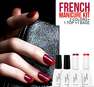Azure 4Pcs/Lot French Style Soak Off UV Gel Nail Polish Set (12ml, Mauve+Red+Base+Top)