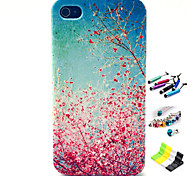 Cherry Blossoms Pattern with Stylus ,Anti-Dust Plug and Stand TPU Soft Case for iPhone 4/4S