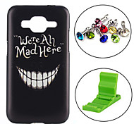 Smile Face Pattern PC Hard Back Cover Case with Anti-dust Plug and Stand for Samsung Galaxy Core Prime G360/G3608