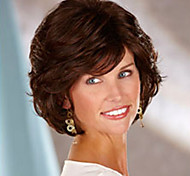 European and American  Fashion Short Curly Dark Brown Wig in The Elderly
