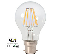 Lampade LED a incandescenza 8 COB ONDENN A B22 8 W Intensità regolabile 800 LM Bianco caldo 1 pezzo AC 220-240/AC 110-130 V
