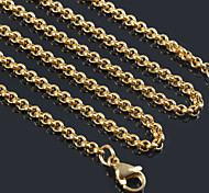 """3MM*18""""/20""""/22""""/24""""/26""""/28"""" Women Men Classical Small 18K Gold Plated Stainless Steel Chain Necklaces Pendant Chains"""