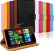 Solid Color Genuine Leather Full Body Case with Stand and Card Slot for Microsoft Lumia 640 (Assorted Colors)