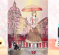 Paris Fashion Girl Pattern PU Leather Full Body Case with Stand for iPad 2/3/4