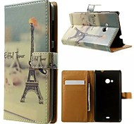 Eiffel Tower Beard Pattern Wallet Card PU Case with Stand for Microsoft Lumia 535