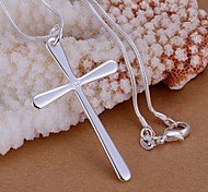 925 Silver Cross Shape Pendant Necklace (1 Pc)