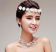 Crystal/Rhinestones Titanium Jewelry Sets/Necklace with Earrings with Head piece