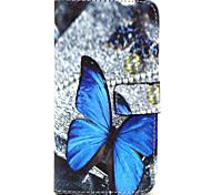 blu modello di farfalla pu borsa di cuoio caso la funzione del basamento fondina per htc m9