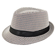 Unisex Houndstooth Pattern Ribbon Fedora Hat