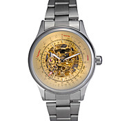 Men's Auto-Mechanical Golden Hollow Engraving Stainless Steel Band Wrist Watch