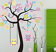 arbre coloré&hiboux sticker mural PVC