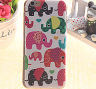 Color Elephant Pattern TPU Relief Thin Transparent  All Inclusive Back Cover Case for iPhone 5/iPhone 5S