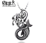 Stainless Steel Vintage Fishtail Pendant Necklace For Man