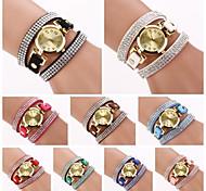 Women's   Round  Dial  Diamante Circuit   Flocking Slim Band Quartz  Watch (Assorted Color)C&d224